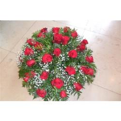coussin rond de roses rouges
